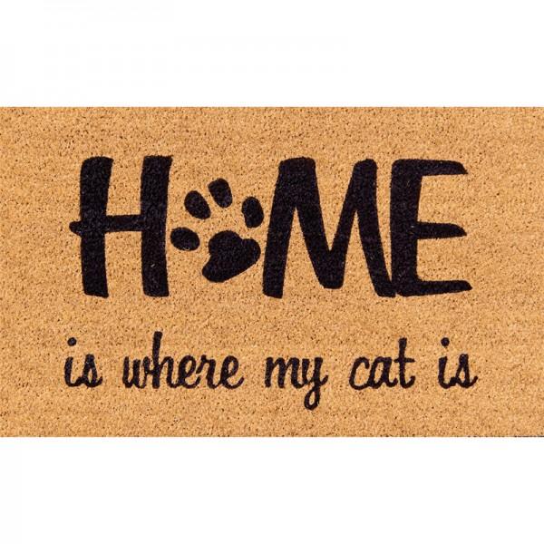 "Kokosmatte ""Home is where my cat is"""
