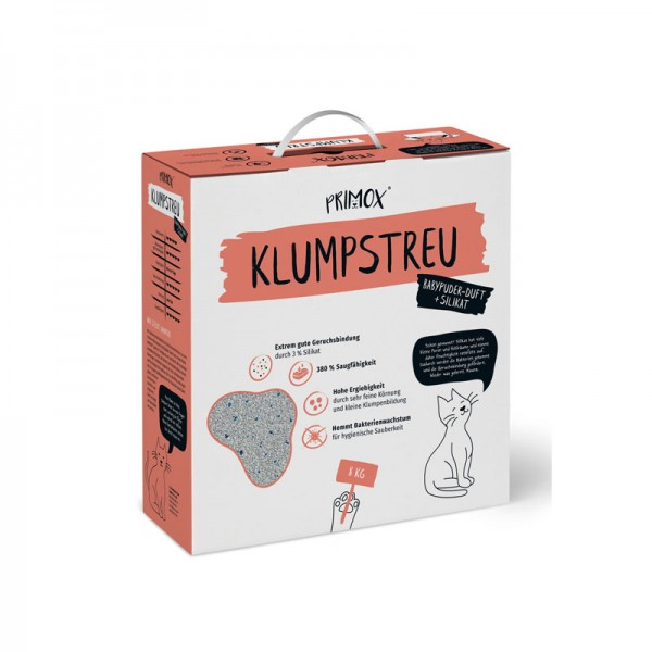 PRIMOX KATZENSTREU KLUMPEND BABYPUDERDUFT + 3 % SILIKAT, 8KG