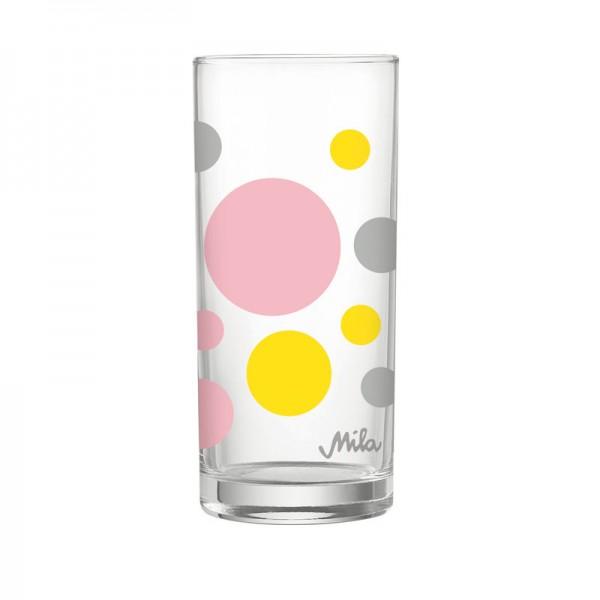 Trinkglas rosa-gelb-grau