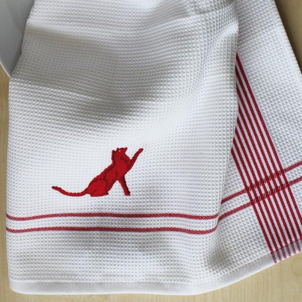 Küchentuch Katze rot